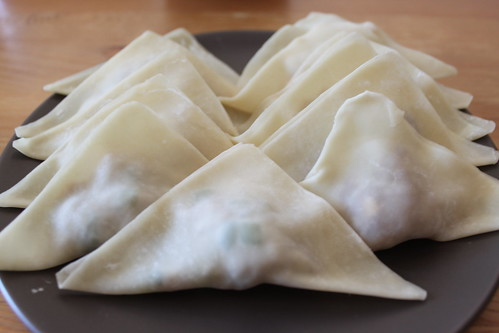 Fold in diagonally of a triangle wanton chinese recipe