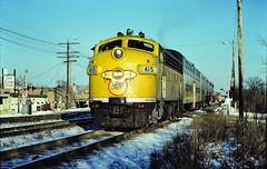 CNW commuter train at Lombard IL 1980 (Mark LLanuza) Tags: 1980 lombard funit cnw