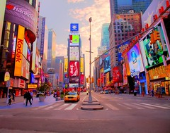 Simply Times Square (Acroview) Tags: new york morning yellow square manhattan taxis times cabe