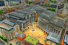 Paternoster Square Tilt Shift (View on black) (mendhak) Tags: england blur london square cathedral stpauls fake shift overcast blurred tilt patternoster mendhakwebsite