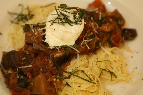 Eggplant Caponata Sauce with Ricotta and Basil over Capellini