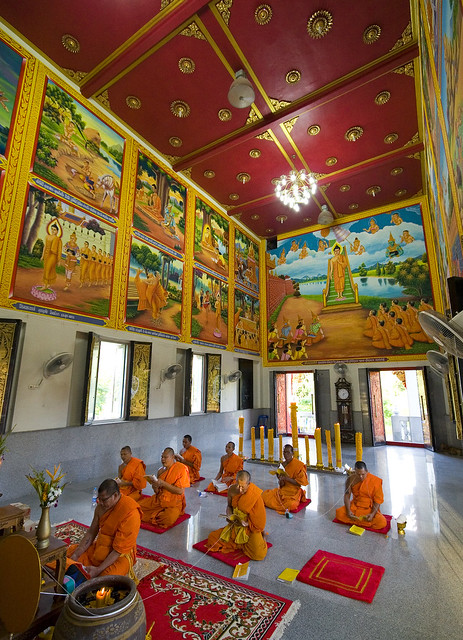 Monks Praying at Naiharn Temple