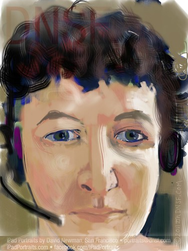 First-ever TransAtlantic iPad Portrait from San Francisco via Skype: Karin mit Kopfhörer, Lehrerin, Baden-Württemberg, Deutschland: Tonight/Heute Morgen - August 17-18, 2011 by DNSF David Newman
