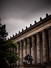 Altes Museum (miemo) Tags: city travel summer sky horse building berlin birds statue museum clouds facade germany typography europe exterior text columns olympus latin altesmuseum pillars eagles ep1 museuminsel