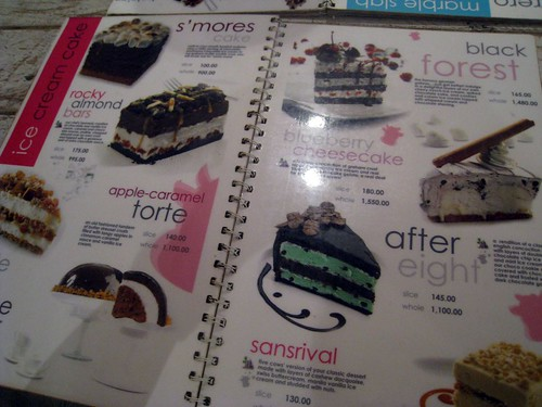 menu cakes