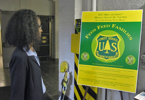 "Public Affairs Manager, Deidra McGee, joins in the excitement about the upcoming executive team's ""Meet & Greet"" on Monday, Aug. 22 to support USDA's food drive."