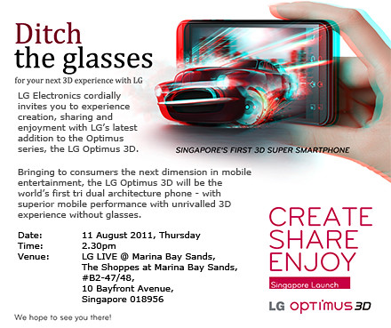 LG Optimus 3D launched today at Marina Bay Sands