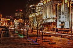 (DPGold Photos) Tags: china light building night nikon cityscape shanghai streaks pudong bund hdr puxi tonemapped