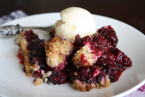 Blackberry Cobbler with brown butter topping