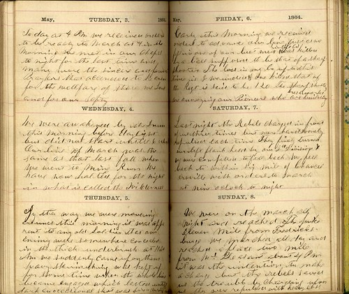 Page from journal of Union Private Jesse E. Bump, 3 May - 8 May 1864