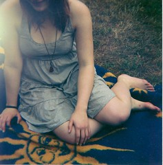 last summer ... (Mandy Mnzner) Tags: summer portrait woman film girl analog germany outside lomo sommer natur wiese leipzig dianaf 2010 picknick lomografie mittelformat connewitz
