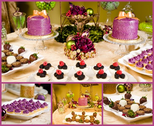 Christmas in July Desert Buffet - purple, green and gold