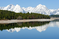 Jackson Lake (bhophotos) Tags: trip travel trees usa lake snow mountains reflection nature landscape geotagged spring nikon day clear wyoming tetons grandtetonnationalpark jacksonlake gtnp d700 mtwoodring 70200mmf28gvrii projectweather rockchuckpeak