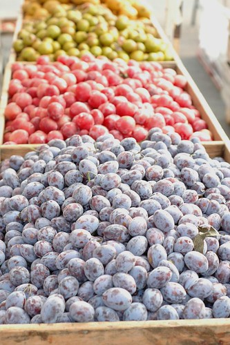 summer: plums at the market