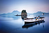 Bluish time (y2-hiro) Tags: morning blue sea reflection rock boat nikon exposure d3s