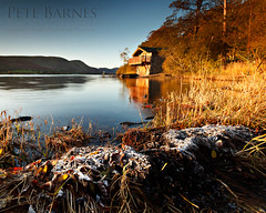 Boathouse on Ullswater (Pete Barnes Photography) Tags: morning autumn winter sky cold colour art ice leaves sunrise photography golden boat warm frost mood photographer lakes lakedistrict stunning serene boathouse keswick ullswater