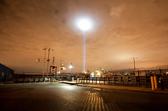 Tribute in Light: Red Hook, Brooklyn (Chris Arnade) Tags: newyorkcity brooklyn 911 sept11 gothamist september11 redhook groundzero tributeinlight sept11th chrisarnade