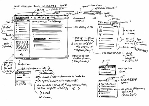 Pear Note: Early UI Concept Sketches
