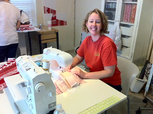 Modern quilt guild members helping each other out!
