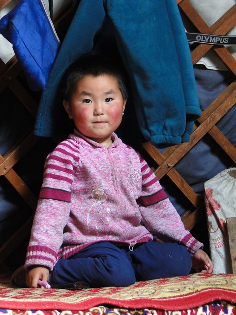 Rosy cheeked mongolian child