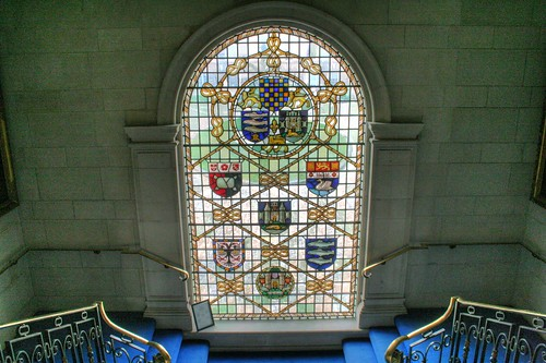 Stained glass with the county coats of arms