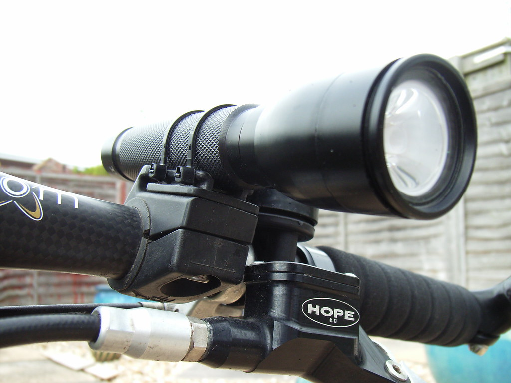 Modified Cateye Bicycle Light Mounting Bracket & Tesco LED Torch