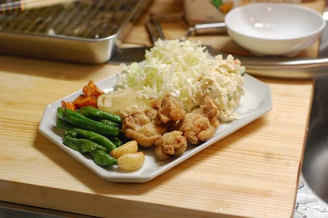 鶏唐揚げと野菜の素揚げ! #gohan