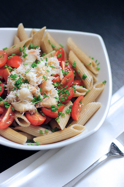Crab, Chives and Tomatoes Pasta