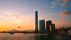Before US got downgraded by S&P (terencehonin) Tags: sunset sky cloud sun skyline hongkong rainbow nikon carlton ritz 24mm ritzcarlton nikkor  icc     internationalcommercecentre d700  nikonafsnikkor24mmf14ged