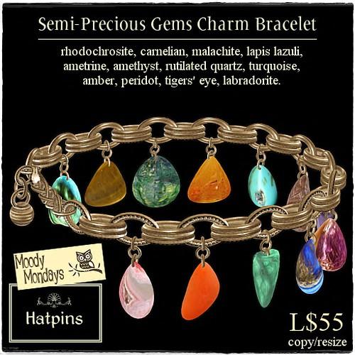 Hatpins - Moody Mondays - Semi-Precious Gemstone Charm Bracelet