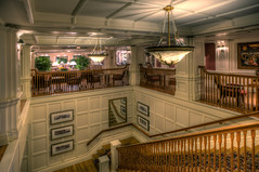 Belle Vue Room (~Life by the Drop~) Tags: lighting architecture stairs nikon interior room lounge sigma disney boardwalk 20mm f18 bellevue hdr decore photomatix d700