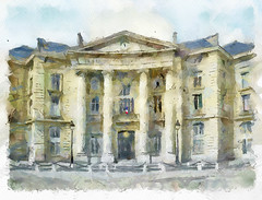 Mairie du V arrondissement. Paris (piker77) Tags: painterly paris france art architecture digital photoshop watercolor painting interesting media natural aquarelle digitale manipulation simulation peinture illusion virtual watercolour transparent acuarela tablet technique wacom stylized pintura imitation dap  aquarela aquarell emulation malerei pittura virtuale virtuel naturalmedia urbanpics    piker77wc