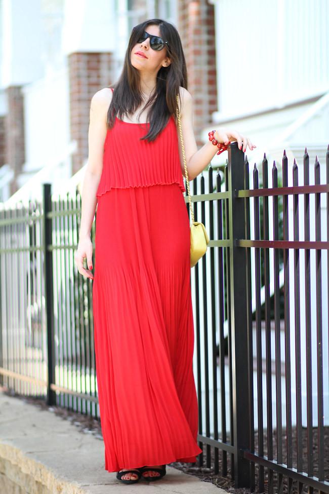 Red Pleated Maxi Dress, Fashion Outfit, LAMB Gwen Stefani Heels, Chanel bag
