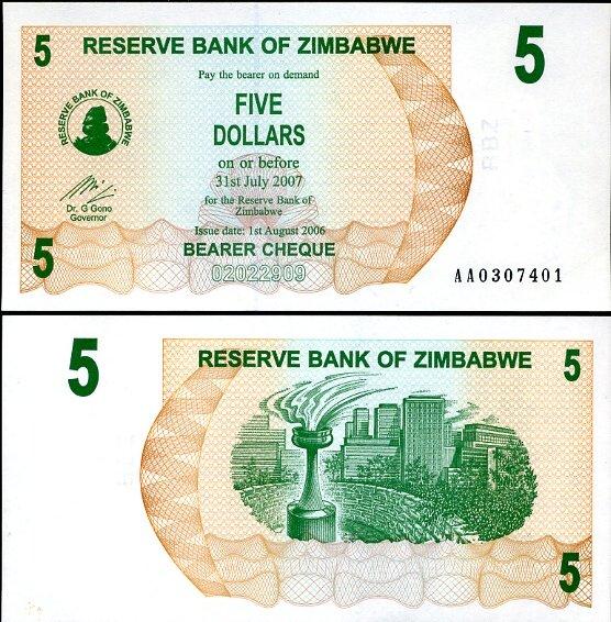 5 Dolárov Zimbabwe 2006, Pick 38