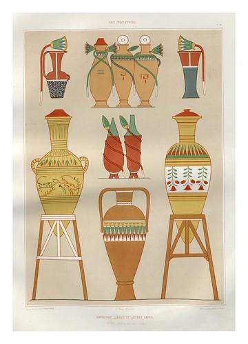 011-Anforas-jarras y otros vasos-Tebas dinastias XVIII y XIX-Histoire de l'art égyptien 1878- Achille Constant Théodore Émile