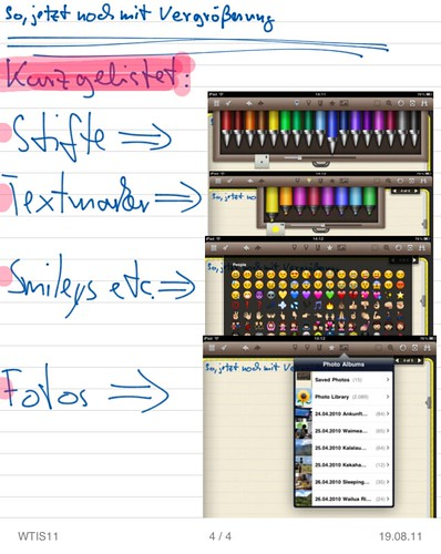 Noteshelf am Beispiel WTIS11: Stifte, Textmarker, Smileys, Fotos