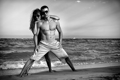 milos i jovana (stainnn) Tags: sea summer woman man love beach couple muscle young greece fit paralia