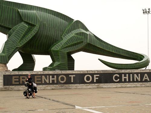 Emma + dinosaur at Erenhot