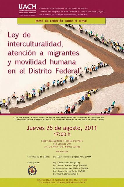 Mesa de Reflexión sobre la Ley de interculturalidad, atención a migrantes y movilidad humana del DF