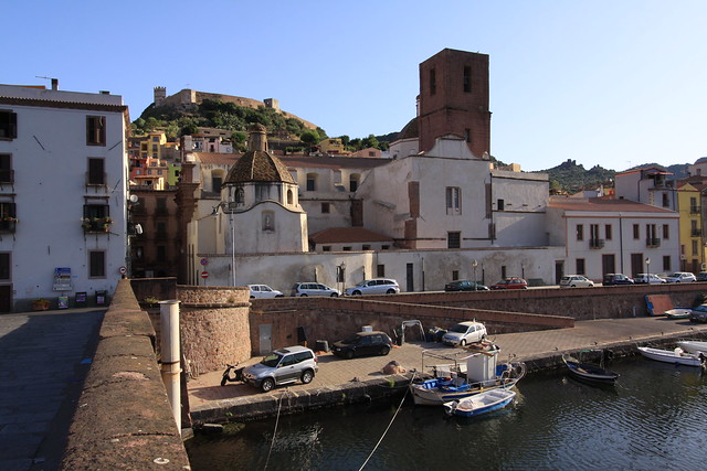 Castello Malaspina on top of the hill behind Bosa town...