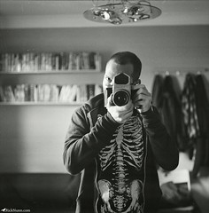 Dark (Rick Nunn) Tags: camera white black eye 120 home zeiss mediumformat skeleton mirror hands personal rick tshirt jena xp2 hoody carl pentacon illford six nunn f28 80mm