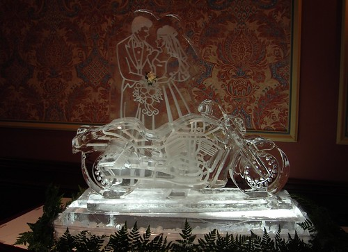 Bride, Groom and Motorcycle ice sculpture