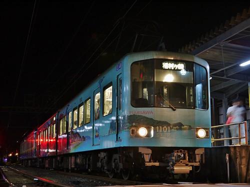 江ノ電1101F+10F稲村ヶ崎行き最終電車@長谷