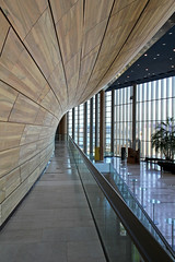 Inside the Palace of Arts 06 (Romeodesign) Tags: wood glass lines architecture reflections hungary arch geometry interior balcony budapest perspective arts palace 550d palaceofarts palotja mpa mvszetek gettyhungary1