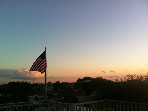 Summer twilight, American flag