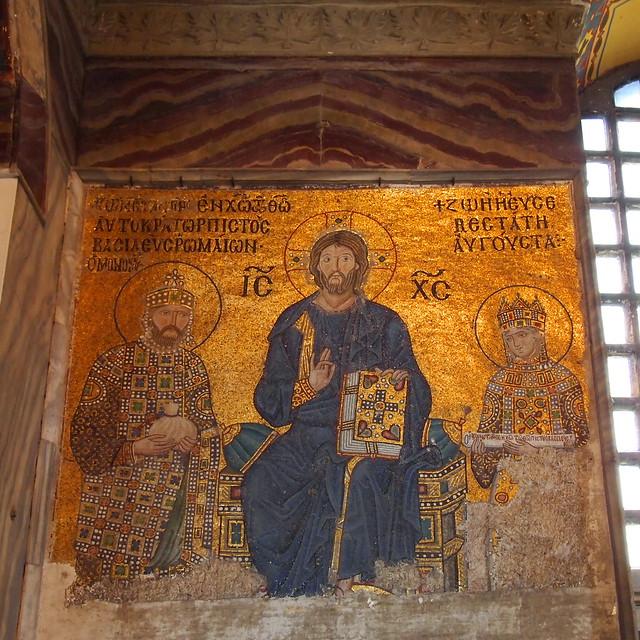 聖索菲亞教堂二樓迴廊的基督與佐伊女皇帝夫婦(Christ with Emperor Constantin IX Monomachus and Empress Zoe)