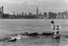 (fivefortyfive) Tags: city white newyork black brooklyn darkroom river kodak candid father trix strangers son east 400 williamsburg minoltax370 fivefortyfive maggieannre