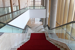 Inside the Palace of Arts 11 (Romeodesign) Tags: wood windows glass lines architecture stairs reflections hungary geometry interior balcony budapest arts down palace 550d palaceofarts palotja mpa mvszetek gettyhungary1