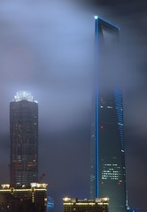 Shanghai - Jin Mao and SWFC in clouds (cnmark) Tags: world china light building tower architecture modern night clouds skyscraper buildings geotagged noche moving shanghai nacht towers jin center mao noite tall   pudong grattacielo financial nuit  gebude notte nachtaufnahme tallest wolkenkratzer  lujiazui