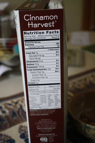 Nutrition Facts Kashi Cinnamon Harvest